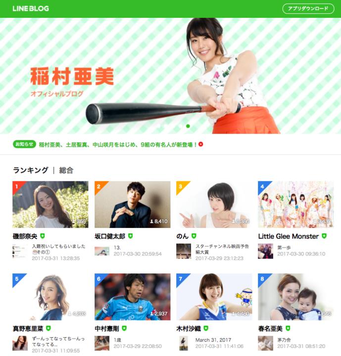 2017年3月31日に「磯部奈央」がLINE Blogで総合1位を獲得しました。